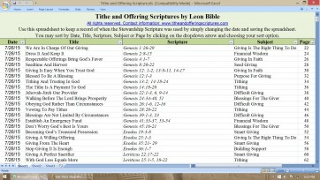 Tithe and Offering Excel spreadsheet